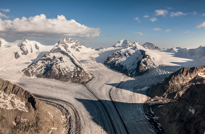 The Great Aletsch Glacier, part of the Jungfrau-Aletsch UNESCO World Heritage site
